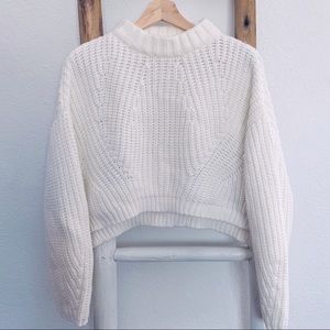 CHUNKY CROPPED HIGH NECK RIBBED PULLOVER SWEATER